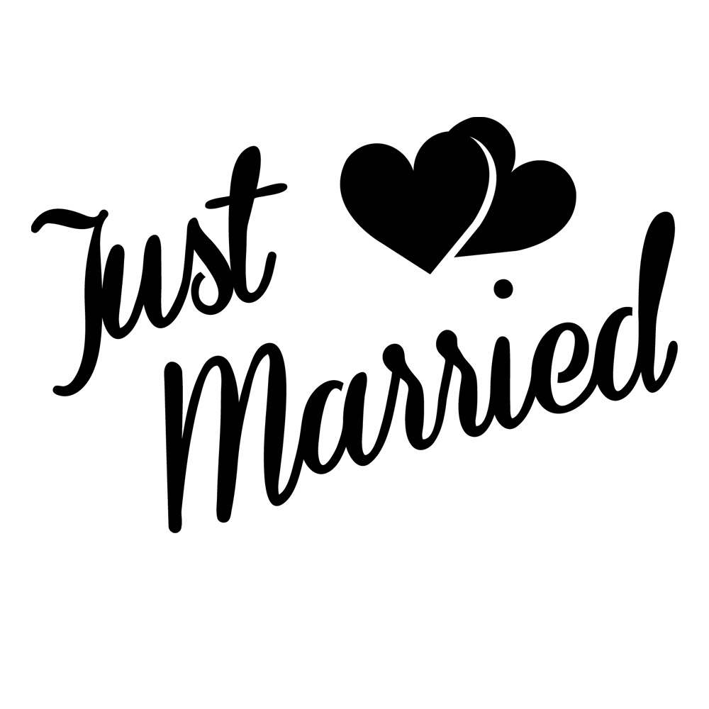Just married quarter mark stencil for glitter tattoos for Married to design