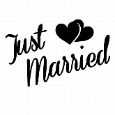 Just Married Quarter Mark Stencil